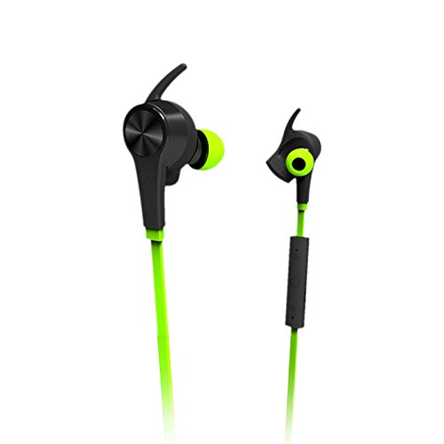 Lian LifeStyle Bluetooth Headphones in Ear Wireless Earbuds 4.1 Magnetic Sweatproof Stereo Bluetooth Earphones for Sports with Mic (Upgraded 7 Hours Play Time, Secure Fit, Noise Cancelling) M1 Green ()
