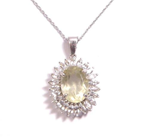 Yellow Quartz with White Topaz Accents Pendant & 18'' Sterling Silver Chain w/Box KS-181
