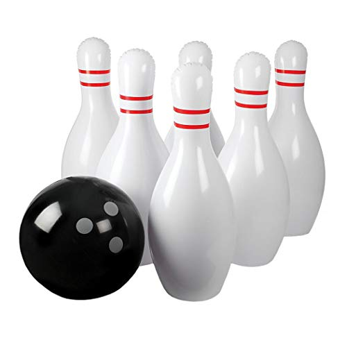 Aurora Originals Giant Inflatable Children Adult Kids Bowling Indoor Outdoor Set Ball Pins and Pump Included - Set Weighted Bowling