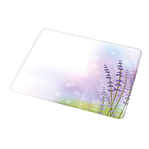 Gaming Mouse Pad Custom Design Mat Lavender,Nature Inspired Abstract Backdrop with Gentle Pastel Lavender Stems,Violet Olive Green Lilac,Non-Slip Rubber Mousepad 9.8