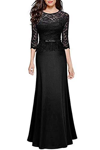 SEBOWEL Women's Retro Floral Lace Evening Gown Slim Peplum Party Wedding Maxi Dress Black M (Gown Slim Prom)