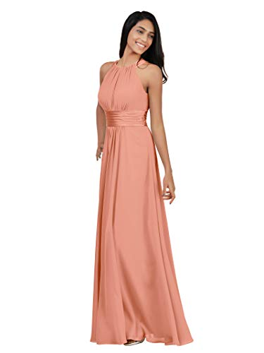 Alicepub Chiffon Petite Bridesmaid Dresses Long for Women Formal Evening Party Prom Gown Halter Petite, Peach Pink, - Gown Bridesmaids Peach Formal