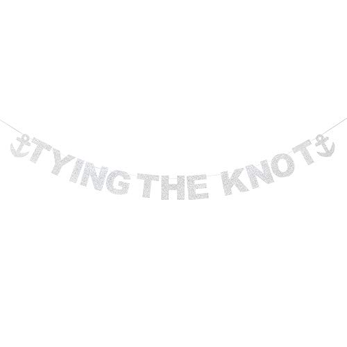 Tying The Knot Anchor Silver Glitter Banner Mr & Mrs Just Married Wedding Engaged Garland Party Sign Decoration. (And Banner Mrs Mr Silver)