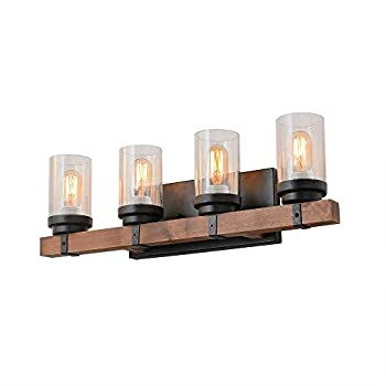 Image of Anmytek Metal Wall Sconce Lighting with Bubble Glass Shade Oil Black Finished Vintage Industrial Wall Lamp Rustic Wall Sconces Antique Edison Decorative Wall Light Fixture 4-Lights (W0034) Home and Kitchen