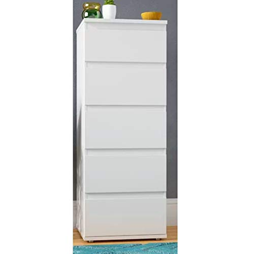 Lingerie Chest of Drawers White Slim Storage Chest 5-Drawer Dresser for Bedroom Contemporary Modern for Kids Room Office Cabinet Home Vertical Storage Solution Closet Organizer