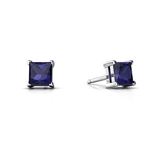 14kt White Gold Sapphire 4mm Square Princess Cut Stud Earrings