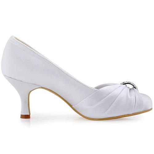 ElegantPark HC1526 Damen Satin Pumps Brautschuhe Weiß