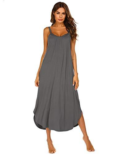 (Ekouaer Sleeveless Nightgown Women's Cotton V Neck Sleepwear Dress Trim)