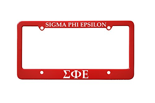 Officially Licensed Sigma Phi Epsilon License Plate Frame - Red