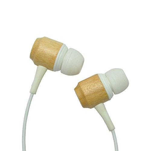 ColorCoral Premium Genuine Wood Corded In-ear Headphones Earbuds Heavy Bass Noise Cancelling Earphones with Microphone for All Apple, Android Smartphone (CherryWood / White)