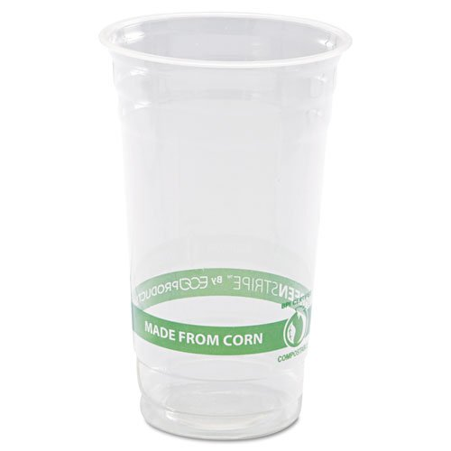 (Eco-Products GreenStripe PLA Cold Cups, 24oz, Clear, 1000/Carton)