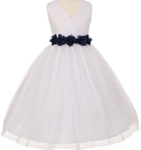 Big Girls' White Tulle V Neck Floral Sash Flowers Girls Dresses Navy Size 10 ()
