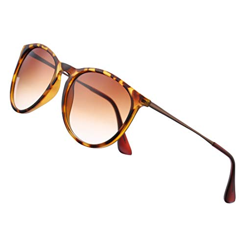 COASION Vintage Round Sunglasses for Women Fashion Designer UV400 Protection Sun Glasses (Tortoise, Gunmetal/Gradient Brown)