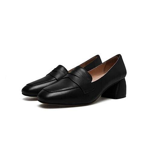 Noir ZHZNVX Chaussures Femme Nappa Cuir Printemps Confort Talons Chunky Heel Blanc Noir Marron 38 EU