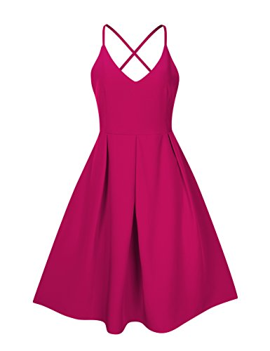 GlorySunshine Women's Deep V Neck Adjustable Spaghetti Straps Dress Sleeveless Sexy Backless Cocktail Party Dresses (L, Rose)