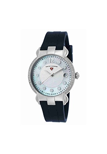 Swiss Legend Women's 'Layla' Swiss Quartz Stainless Steel and Silicone Casual Watch, Color:Blue (Model: 16591SM-02-BLS)