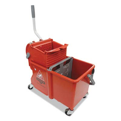 UNGCOMSR - Side-Press Restroom Mop Bucket Combo, 4gal, Plastic, Red ()