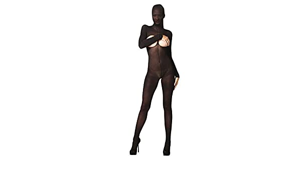 0630e13e7d2 Amazon.com  by Kinky Hooded Opaque Bodystocking with Open Bust   Backside