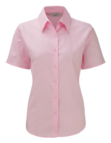 Russell Collection Womens Easycare Oxford Short Sleeve Shirt Classic Pink L