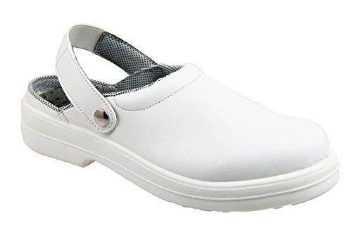 Scarpe sanitari MEDICAL REPOSA DPI bianco pelle microfibra traforata zoccoli ISO 20345