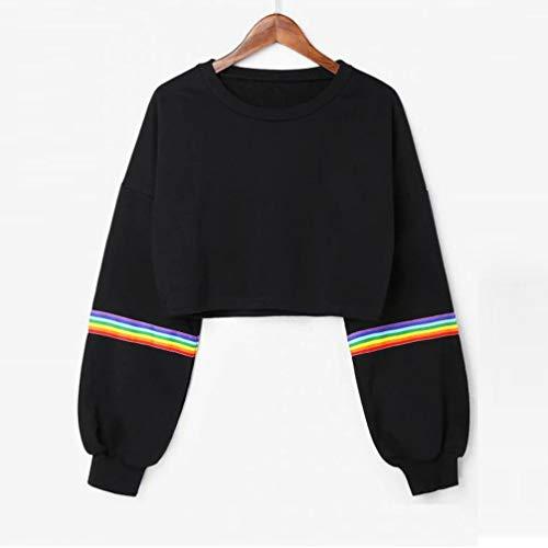 Tops Manches Chic Imprim Sweatshirt en Noir Femme Chemisier Ciel Court Arc Pullover Fille Longues Automne Bringbring Blouse p5Itqt