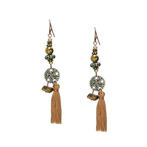 (Long Tassel Earrings Bohemian Bead Rhinestone Shell Flower Sequins Dream Catcher Earring Ethnic Dangle Drop Earings Jewelry E020234)