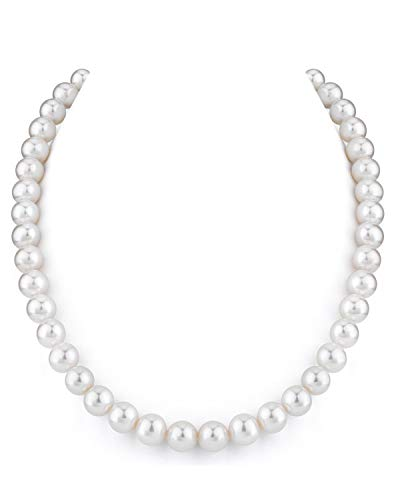 THE PEARL SOURCE 9-10mm AAA Quality Round White Freshwater Cultured Pearl Necklace for Women in 20