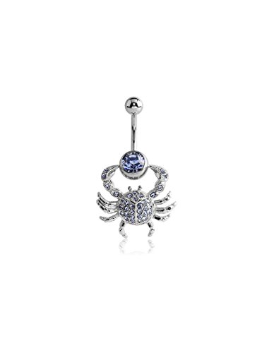 (Bubble Body Jewelry Surgical Steel Jeweled Navel Banana With Clip On Crab 1.6mm Gauge 14g)