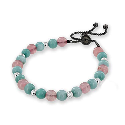 (Believe London Chakra Bracelet Anxiety Gemstone Crystal 7 Chakra Natural Stone Healing Men Women Stress Relief Reiki Yoga Diffuser Semi Precious (Aquamarine & Morganite Adjustable Length))