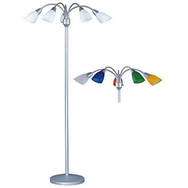 Park Madison Lighting PMF-4655-60 70-Inch Tall 5 Light Floor Lamp with Fully Adjustable Arms and White and Color Shades Included