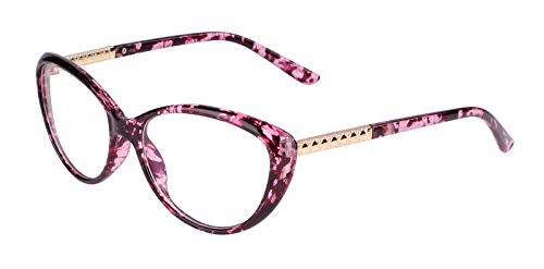 Agstum Womens Cat eye Glasses Frame Optical Eyeglasses Clear lens (Purple flower, - Cat Spectacles