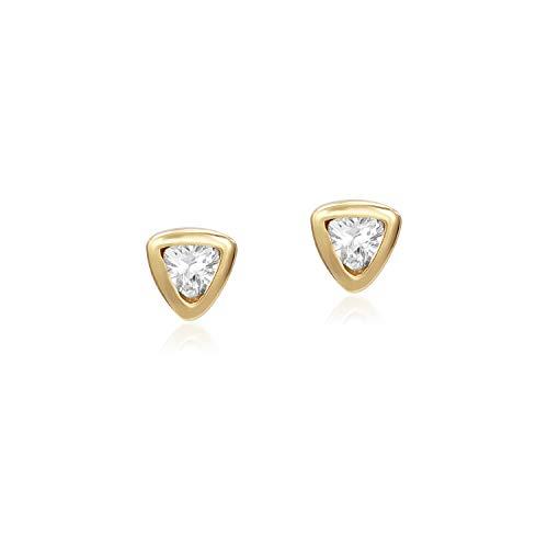 Yellow Gold Flashed Sterling Silver 4mm Trillion Shape CZ Cubic Zirconia Dainty Bezel Set Stud Earrings for Woman Girls Unisex (Trillion Shape Gold)