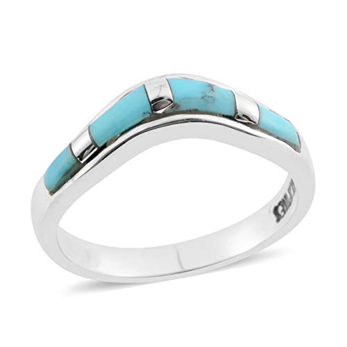 Southwest Jewelry Band Ring for Women 925 Sterling Silver Kingsman Turquoise Gift Size 8