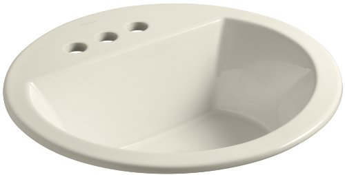 (Kohler K-2714-4-47 vitreous China Drop-In Round Bathroom Sink, 21 x 21 x 10 inches, Almond)