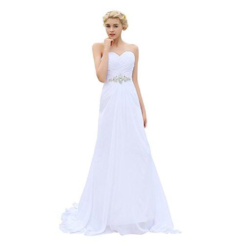YIPEISHA Women's Strapless Lace-up Bridal Beach Chiffon Wedding Dress US 6 White
