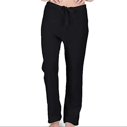 Women's Latex-Free Drawstring Lounge Pants Made from 100% Organic Cotton (Black) (7)