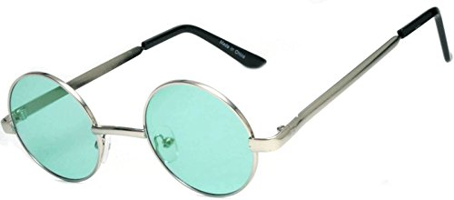 Round Retro Vintage Circle Style Tint Sunglasses Metal Colored Frame Colored Lens OWL Brand (Round_43_Silv_l_Green, PC - Frames Colored