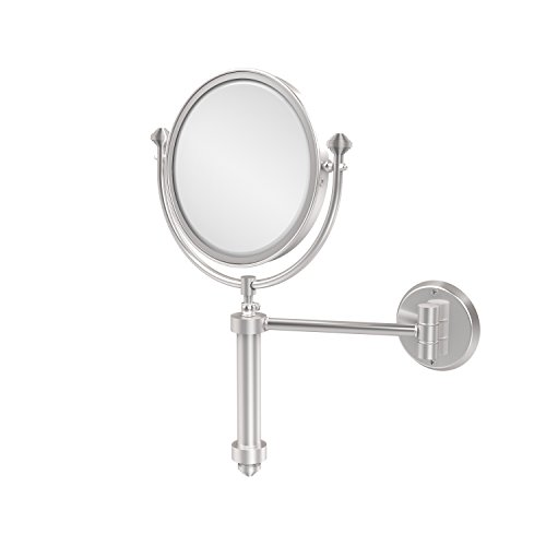 (Allied Brass SB-4/2X-SCH Southbeach Collection Wall Mounted Make-Up Mirror 8 Inch Diameter with 2X Magnification, Satin Chrome)