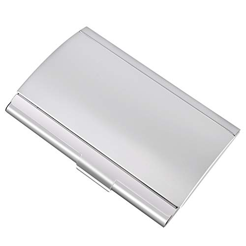 Stainless Steel Business Cards - MaxGear Metal Business Card Holder Stainless Steel Business Card Case with Aluminum Curved Cover Silver