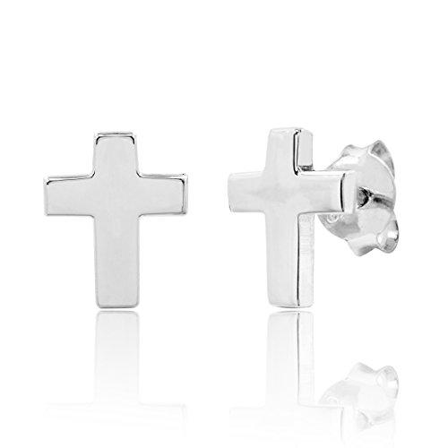 (Sterling Silver Cross Stud Earrings)