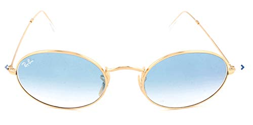 Ray-Ban RB3547N Oval Flat Lenses Sunglasses, Gold/Blue Gradient, 54 ()
