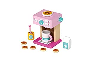 TOYSTERS My Coffee Set Wooden Pink Coffee Maker Playset | Pretend Play Toddler Kitchen Toys | 6-Piece Wood Kitchen Appliance Play Set for Girls | Ages 3 and Up