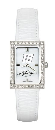 Kyle Busch #18 Women's Allure Watch with White Leather Strap