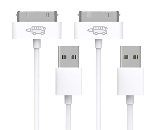 RocketBus 2-Pack Charger Extra Long Longer Cable Cords for iPhone Old Older Classic 3 3S 4 4S iPod 1 2 3 4 Generation iPad 2nd 3rd Gen 6FT ()