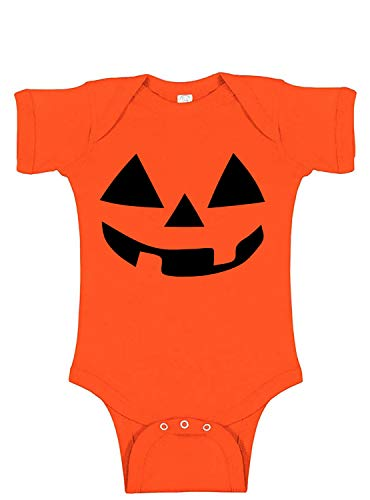 Jack O Lantern Baby Bodysuit | Funny Baby Halloween Pumpkin Costume Outfit - Orange - 12 Months