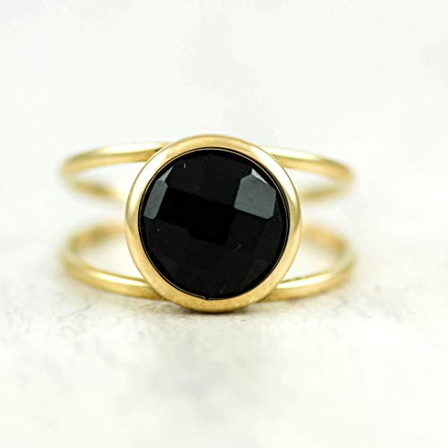 - Onyx ring black gemstone 14k gold double band solitaire stone faceted simple natural gem black onyx gift for her anniversary birthday Valentine's simple elegant statement stacking