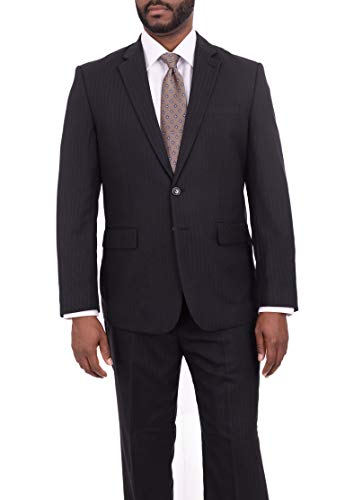 Sacari Classic Fit Black Pinstriped Two Button Wool Suit ()