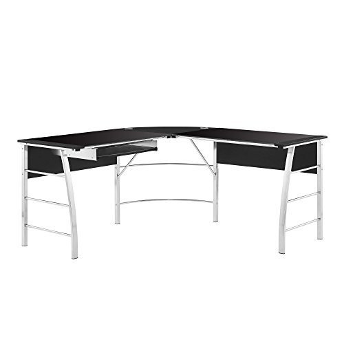 Altra Furniture 9105396COM Wingate Glass Desk Altra Top L, Black by Altra Furniture