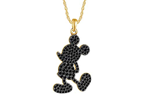 - wishrocks Round Simulated Black Diamond Iconic Mickey Mouse Pendant 14k Yellow Gold Over Sterling Silver.