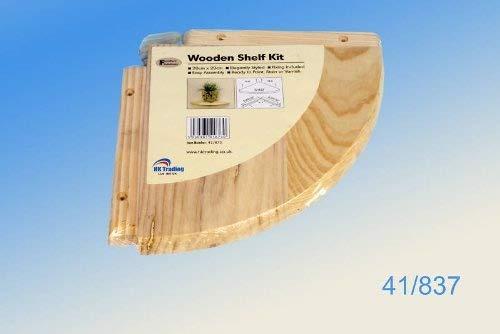 Corner Mounted Wooden Pine shelf kit 20 x 20 cm